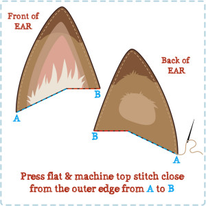 How to top stitch the ears