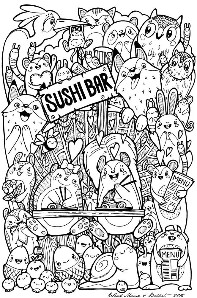 Kawaii Sushi Coloring Pages