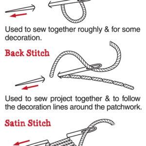Stitch Guide: Tack/Running stitch, Back stitch & Satin stitch.